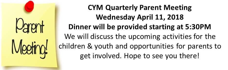 CYM Quarterly Parent Meeting